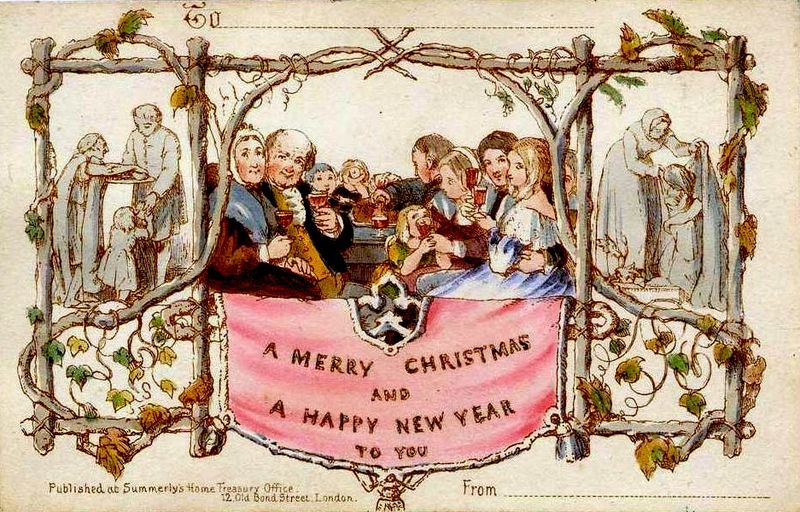 The first Christmas card lithograph